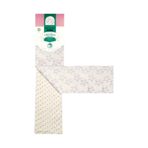 Sense Organics Spucktücher Doppelpack Sterne rosa